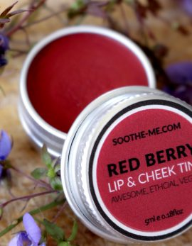 Red berry lip and cheek tint, plastic free makeup