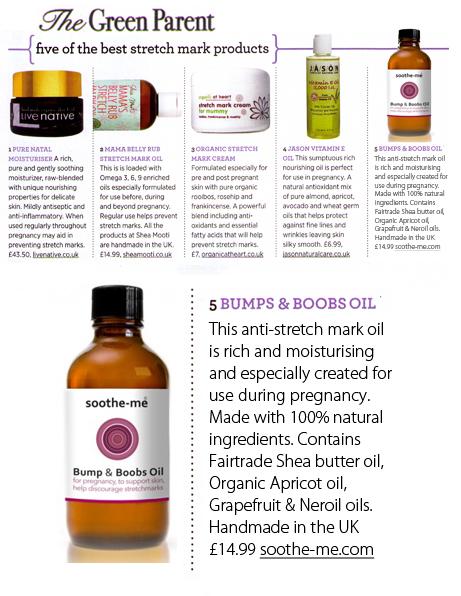 soothe-me bump & boobs oil, green parent magazine