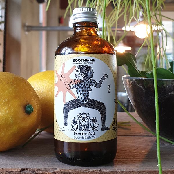 Energizing aromatherapy body oil with Orange, Ginger, Sandalwood