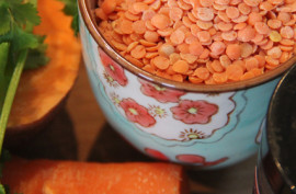 Carrot, sweet potato and lentil soup