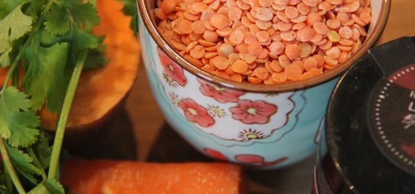 Carrot, sweet potato and lentil soup