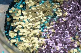 biodegradable glitter, plastic free, hexagon shaped