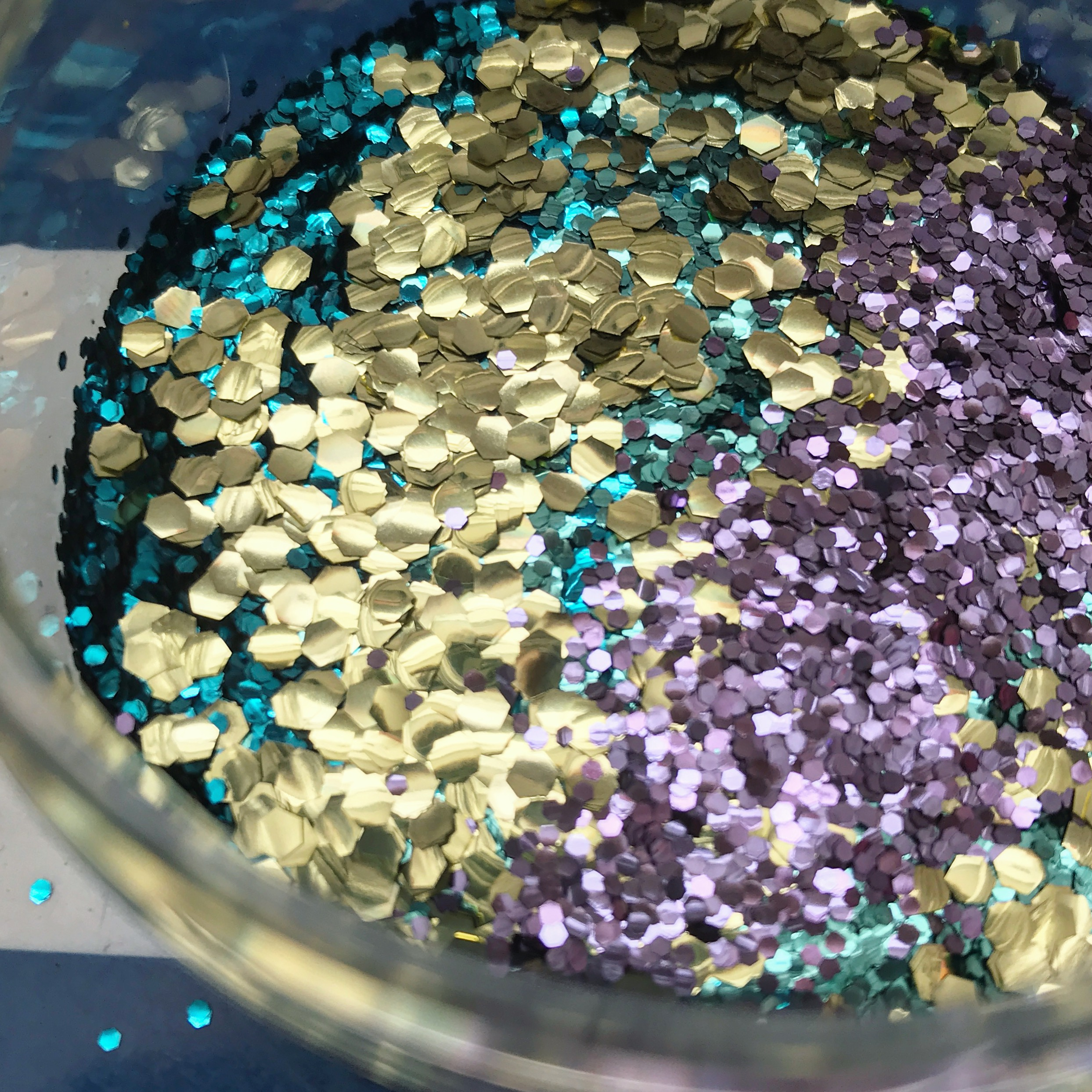 biodegradable glitter, plastic free, hexagon shaped