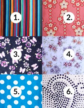 Choices of of cut fabrics for face mask